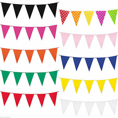 10m 20 Flags Bunting Blue Rose Gold Silver White Red Pink Purple Green 32 Feet 7