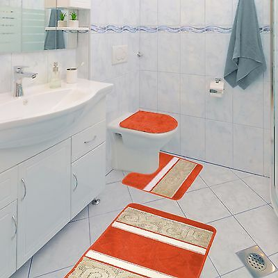 1 Of 10free Scroll 3 Piece Bathroom Rug Set Bath Contour Lid Cover