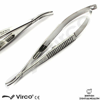 Microsurgical Castroviejo Needle Holder Curved 14cm Porta Aghi Chirurgia Lab CE