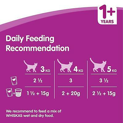 80 x 100g Whiskas 1+ Adult Wet Cat Food Pouches Mixed Meaty In Gravy 7