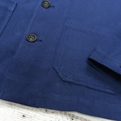 60s Style French Navy Blue Cotton Twill Canvas Chore Worker Jacket - All Sizes 10