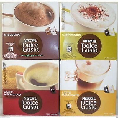 Nescafe Dolce Gusto 4 Flavours:Latte, Cappuccino, Chococcino & Americano 64 Caps 2