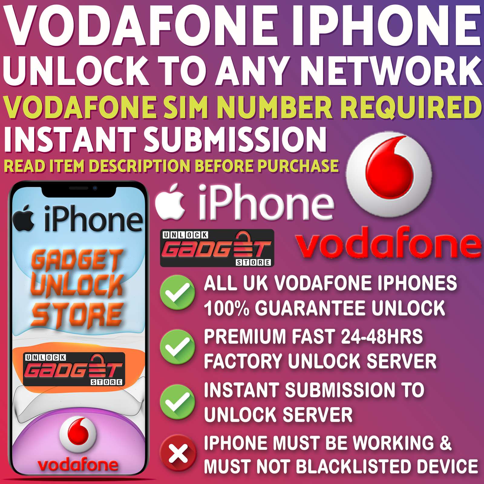 Unlock Service For iPhone 4 5 5S 5C SE 6 6S 7 8 X XS XR 11 Max Pro Vodafone UK 6