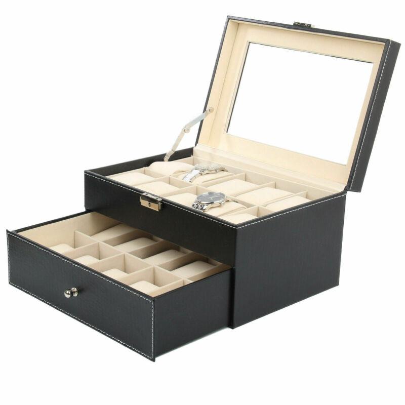 PU Présentoir à Montre Bijoux Etui de 6/10/12/24 Montres Boîte de Rangement 5