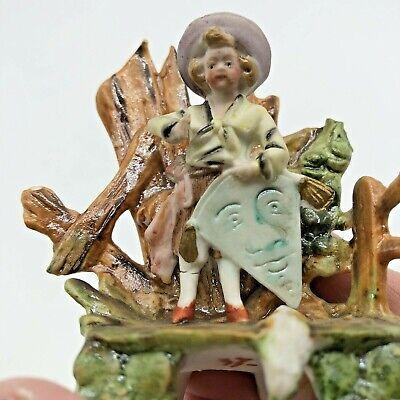 Antique Miniature Bisque Figurine Boy Kite Hand Painted 8