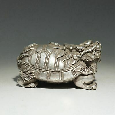 Collect China Old Miao Silver Hand-Carved Bring Luck Myth Dragon Turtle Statue 2
