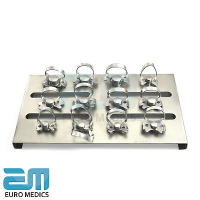 Dental Restorative Set of 12 Rubber Dam Clamps & Frame Colliers Dentist Tools CE 6