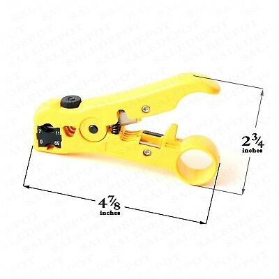 Coaxial Cable Stripping Tool RG6 RG11 RG59 RG7 Wire Cutter Stripper + connectors 2