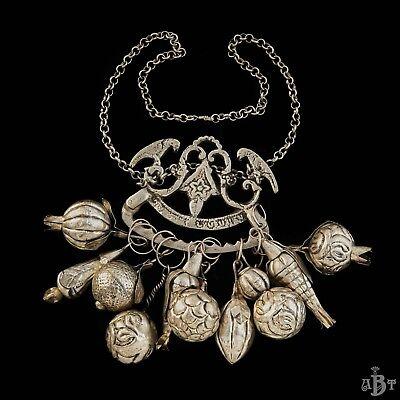 Antique Vintage Victorian Sterling Silver Ragastens Penca Balangandan Necklace 2