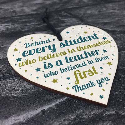Gift For Teacher And Assistant Wood Heart Plaque Thank You Gifts Leaving School 8