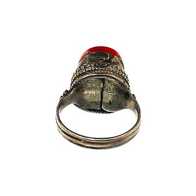(1329) Tibetan coral and silver ring 2