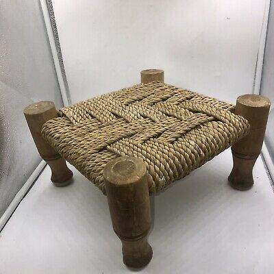 Vintage Rustic Small Square Carved Wooden Foot Stool Side Table Plant Vase Stand 3