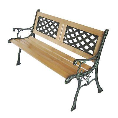 WestWood 3 Seater Outdoor Wooden Garden Bench Cast Iron Legs Park Seat Furniture 5