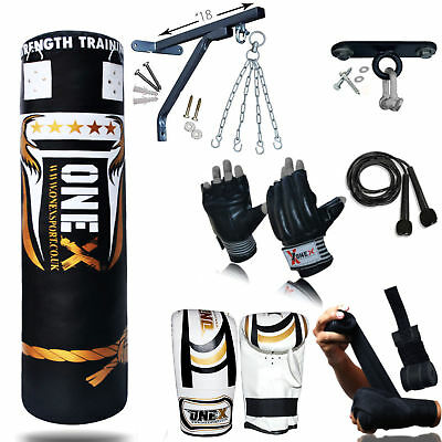 NEW 3-4-5 FT Filled Heavy Punch Bag Buyer Build Set,Chains,Bracket,Gloves,MMA 2