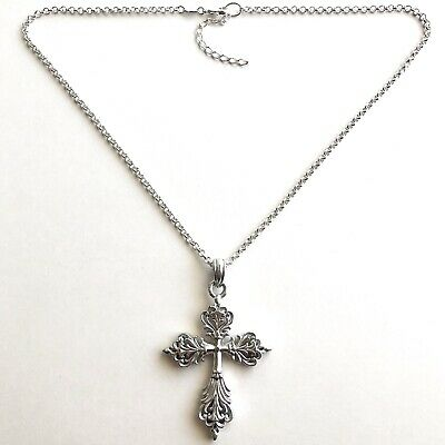 Arthur Court Necklace Aluminium Scroll Cross Med 2.5in Jewelry 18 to 20in Chain 2