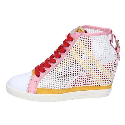 SCARPE DONNA HOGAN REBEL 35 EU sneakers bianco paillettes rosa ...