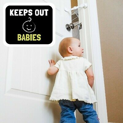 Door Buddy® Child Proof Door Latch | Keeps Baby Out | Lets Cats In. (Caramel) 4