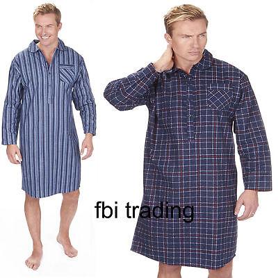 Mens Night Shirt Nightshirt Pure100% Cotton Flannel Warm stripes and checks 2