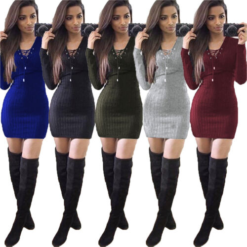 2 of 9 Women Knitted Long Sleeve V Neck Lace Up Sweater Jumper Knitwear  Slim Mini Dress e01acb9ff