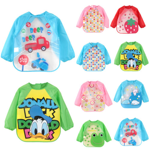 Toddler Baby Kid Feeding Art Bibs With Sleeve Infant Plastic Smock Apron Cartoon 2