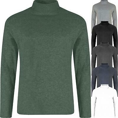 New Mens Turtle Neck Top Roll Polo Funnel Thin Jumper Baselayer 100% Cotton Golf 2