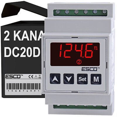 DIN Dual Temperature Controller two channel DOUBLE THERMOSTAT 2 SENSORS outputs 3