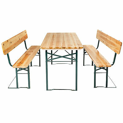 Fine Wooden Folding Beer Table Bench Set With Backrest Party Pub Pabps2019 Chair Design Images Pabps2019Com