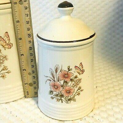 CERAMIC KITCHEN CANISTERS 2 PC Set Lids Floral Ivory Pink Flowers Vintage  Japan