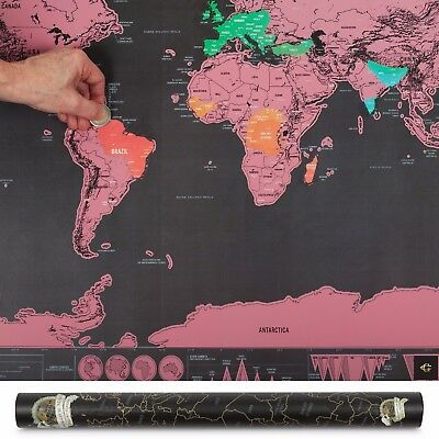 Xl Large Scratch Off World Map Pink Poster Personalized Travel Vacation Personal 2