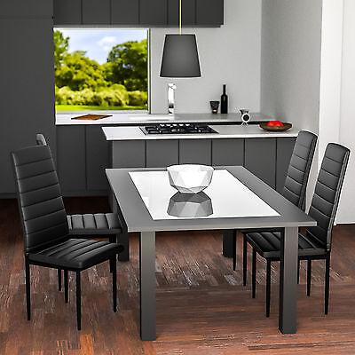 4x Chaise de salle à manger ensemble salon design chaises cuisine neuf noir 2