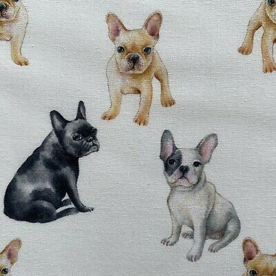 French Bulldog Print 58 inch Wide 100/% Cotton Fabric FQ 1//2 Metre or 1 Metre UK