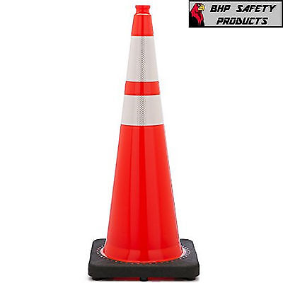 "36"" Inch Orange Safety Traffic Cones Black Base 3M Relfective Collars (6 Pack) 2"