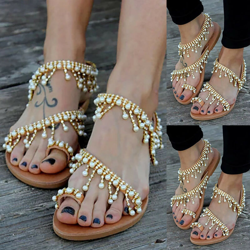 4e580b5ac Women Bohemian Flat Sandals Toe Ring Rhinestone Tassel Summer Beach Casual  Shoes 4 4 of 9 See More