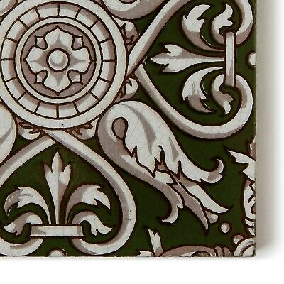 Antique Tile Victorian Aesthetic Gothic Arts Crafts Floral Lea Hearth Green Gray 5