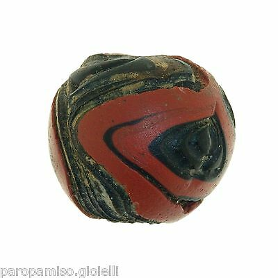 Early Islamic folded Glass Bead large size. (0429) 5