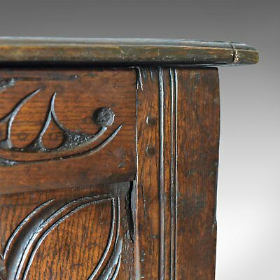 Antique Coffer, Large, English Oak Chest, Early 18th Century Trunk Circa 1700 10