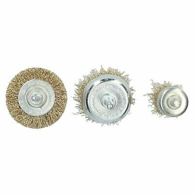 3pc Rotary Brass Coated Steel Wire Brush Set Metal Polishing Cup Wheel Flat 3