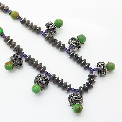 """925 Sterling Vintage Turquoise & Amethyst Ethnic Design Bead Chain Necklace 15"""" 7"""