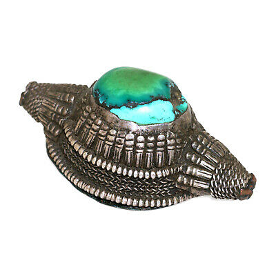 (2567) Antique element of headdress Ladakh/Tibet. Turquoises and silver 3