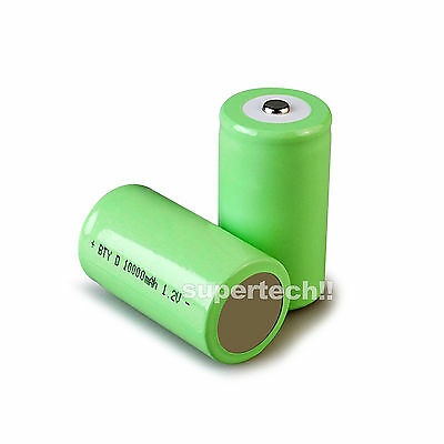4x 10000mah D Size NI-MH Rechargeable Cell Battery 10000-mah NIMH Batteries 1.2V 2