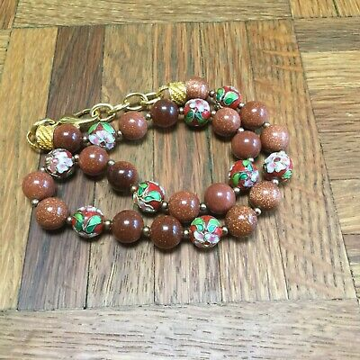 Old China Export Genuine Gold Sand Stone & Cloisonné Enamel Bead Necklace 4