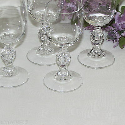 LIQUEUR GLASSES SET OF 4 CORDIAL 2 oz GOBLETS BALL STEM WITH VERTICAL LINES 2