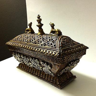 Antique Box Rare Tibetan Art Metal Geometric Pattern Figural Decorative Copper 2