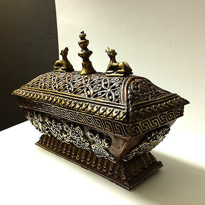 Antique Tibetan Art Box + Lid Metal Symbol Medalion Traditional RARE Collectable 2
