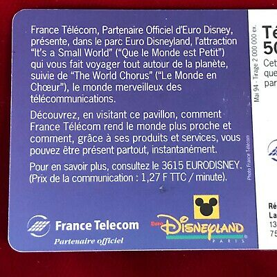 France Telecom Euro Disneyland Paris 1992 Small World Collectable Phone Card 6