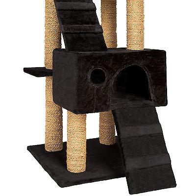 Arbre à chat griffoir grattoir jouet geant 2 grottes 169cm pour chats noir 3