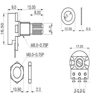 10 Pz POTENZIOMETRI MONOGIRO 1M asse 15mm POTENZIOMETRO lineare 1M