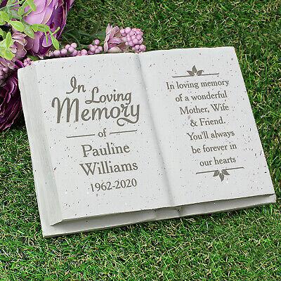 Personalised Memorial Book / Bible Plaque Garden Grave Ornament Cross Rose 7