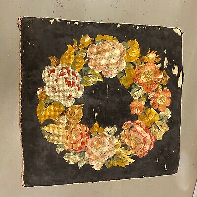 🌟Shabby Antique Wooden Square Tapestry Top Stool Seat Chair 7