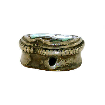 (2564) Antique Tibetan Turquoise Set in Silver and Copper 6